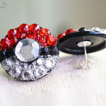 Pokeball Rhinestone Earring Studs, Unisex Size Large - Made to Order