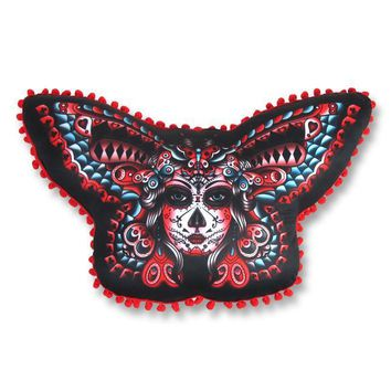 LIQUORBRAND Liquor Brand Butterfly Day Of The Dead Pillow
