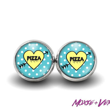 Pizza Candy Heart Earrings, 90s Grunge, 90s Jewelry, Soft Grunge, Glass Earrings, Pastel Grunge, Custom Candy Heart Jewelry