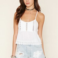 Pintucked Crochet Cami
