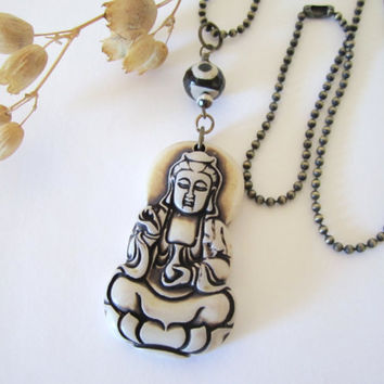 Buddha Necklace  With Tibetin Agate by 636designs on Etsy