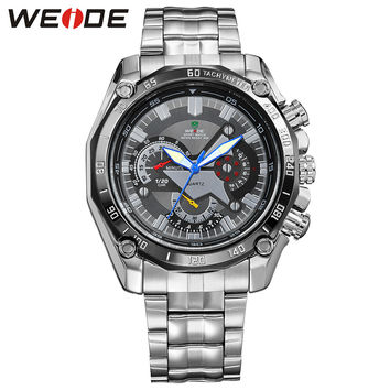Luxury Men's Quartz Analog Wrist Watch Silver Stainless Steel Band Waterproof Military Sport Items