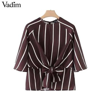 Vadim women sweet bow tie striped shirts backless o neck blouse vintage ladies cute spring casual chic tops blusas LT2634