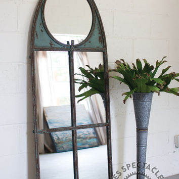 Large Arched Metal Framed Mirror