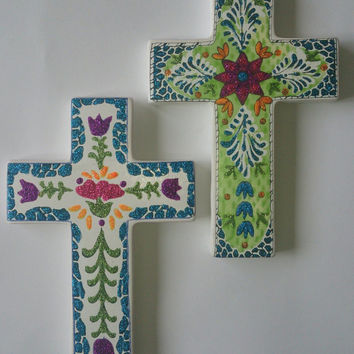 Ceramic Cross, Holy Wall Cross, Religious Art Flower Cross, Mexican Cross HandPainted Glittler, Hanging and folk decor