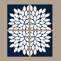 NAVY Wall Art, CANVAS or Prints, Navy Bathroom Decor, Navy Bedroom Pictures, Flower Burst Petals, Set of 4 Home Decor, Living Room Pictures