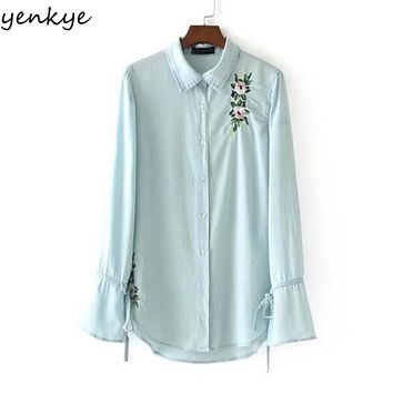 Elegant Light Blue Denim Blouse Shirt Women Turn down Collar Tie Cuffs Sexy Split Floral Embroidery Autumn Blouses