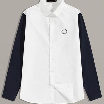 Men Embroidered Detail Two Tone Shirt