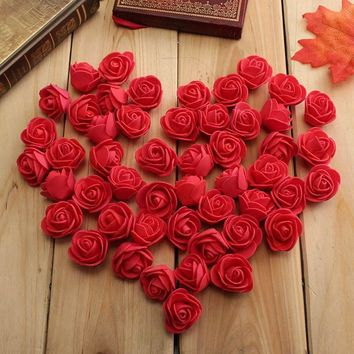 50 PCS Foam Roses Artificial Flower Wedding Bride Bouquet Party Decor DIY Décoration de mariage