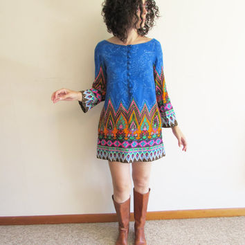 Vintage 60s Ethnic Indian Hippie Boho Festival Psychedelic Super Mini Tunic Dress