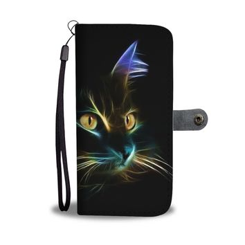 KUYOU Neon Lighting Cat Wallet Phone Case