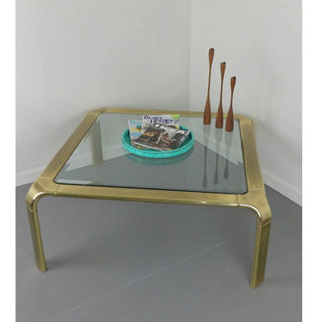 Brass Coffee Table John Widdicomb Square Waterfall Mid Century Modern Beveled Glass Circa 1970's Elegant Living Room Sofa Hollywood Regency