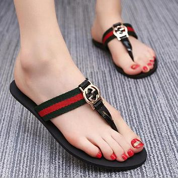 GUCCI Classic Trending Women Casual Stripe Flat Slippers