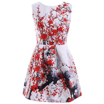 Ladylike Round Neck Sleeveless Plum Blossom Print Women Dress