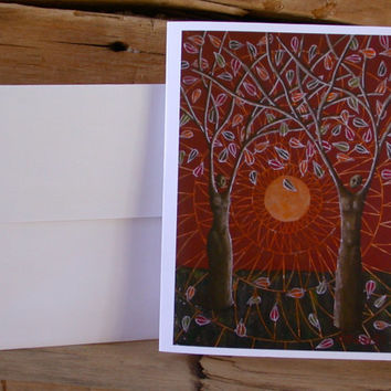 Surreal Tree People Blank Card Set, Surreal Card, Tapestry Card, Autumn Card
