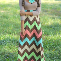 Color-block Scoop Neck Zigzag Maxi Dress -SheIn(Sheinside)