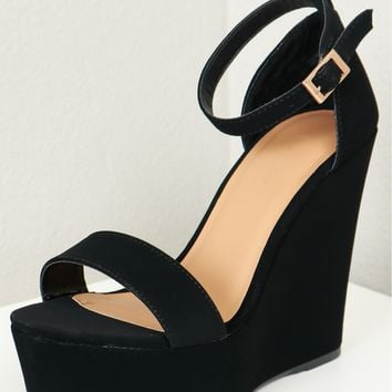 Two Strap Chunky Platform Wedge Black
