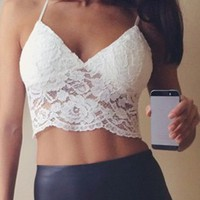 Spaghetti Strap Sexy Lace White Short Tank Top For Women