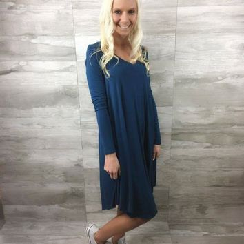 Crazy For This Girl Piko Dress in Deep Teal
