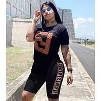 FENDI Summer Fashionable Woman Casual Print Short Sleeve Top Shorts Set Two Piece Sportswear