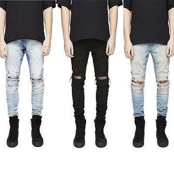 Three Colors Men's Ripped Skinny Biker Jeans Destroyed Frayed Slim Fit Button Denim Pants Size 30-36