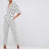 ASOS Soft Tux Jumpsuit in Polka Dot at asos.com