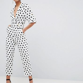 ASOS Soft Tux Jumpsuit in Polka Dot | ASOS