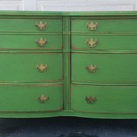 Green Distressed 6 drawer Dresser, Nightstands, Changing Table, Buffet, Credenza, bedroom furniture