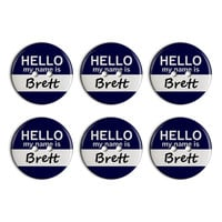 Brett Hello My Name Is Plastic Resin Button Set of 6