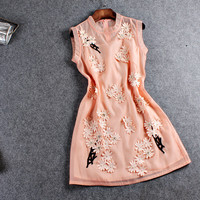 Chiffon And Mesh Beaded Flower Design Sleeveless Mini Dress