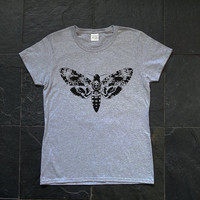 Death's-head, Hawkmoth, Butterfly of the night, insect, moth - Retro screen printed female T-shirt