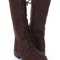 Brown Faux Suede Lace Up Mid Calf Flat Boots @ Amiclubwear Boots Catalog:women's winter boots,leather thigh high boots,black platform knee high boots,over the knee boots,Go Go boots,cowgirl boots,gladiator boots,womens dress boots,skirt boots,pink boots,f