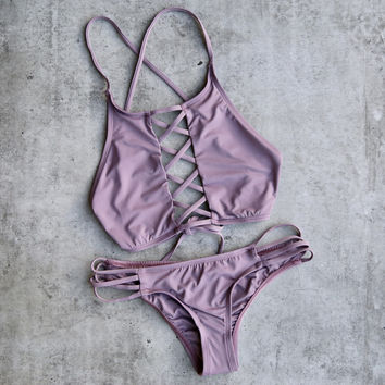 venice high neck crop bikini separates - purple