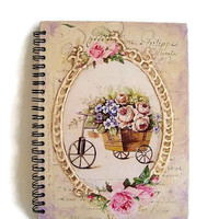 Spiral Notebook A5 Spiral Bound Diary, Vintage, Rustic Roses Flower Notebook, Hard cover Hand decoration, Embossed covers, Provence Notebook