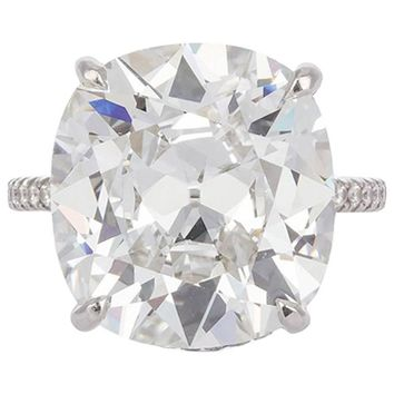 Harry Winston GIA Certified Cushion Cut 10.67 carat F/VS2 Diamond Ring
