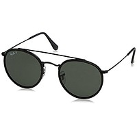 Ray-Ban Men's Round Double Bridge Black Sunglasses, Black Frames, Polarized Gree