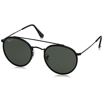 352f929cc14f1 Ray-Ban Men s Round Double Bridge Black Sunglasses