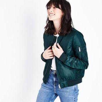 Teal Satin Bomber Jacket | New Look