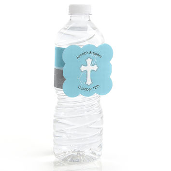 Little Miracle Boy Blue & Gray Cross - Personalized Baptism Water Bottle Label Favors