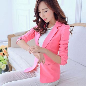 2017 Hot Soft Spring Autumn Suit Women Blazers And Jackets Blaser Female Ladies Office Work Pink Blazer Femma Coat Outwear