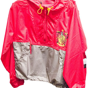 Wizarding World Harry Potter Gryffindor Wind Rain Jacket w/Hood Unisex NEW