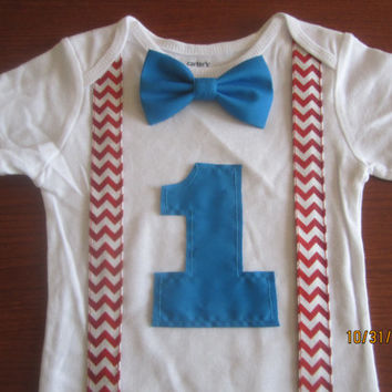 Boy red white chevron suspender first birthday outfit, Boy birthday bodysuit, boy first birthday Onesuit, baby's blue bow tie birthday outfit