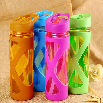 Sports Water Bottle Steal Straw Plastic Sleeve Drink Running Gym Eco Friendly Protein Powder Shaker Sport Available In Blue Green Red Brown