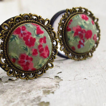 "Raspberry Roulade - Sizes  3/4 (19mm) to 1"" (25mm) romantic vintage plugs for stretched ears"