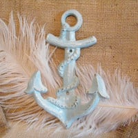 Wall Hook /  Distressed Turquoise and White Anchor Wall Hook-Jewelry Holder-Cast Iron-Coastal Home Decor-Beach Cottage Decor