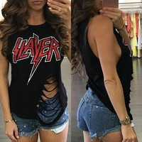 Slayer distressed cut up top