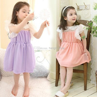 New Girls Children Lace Collar Sleeveless Lace Princess Dress Girls Summer Fly Sleeve Lace Floral TUTU Dress 5 pcs/lot Children's Dresses