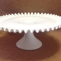 Vintage Fenton Milk Glass Hobnail Ruffled Edge Cake Plate Stand - With Price Tag