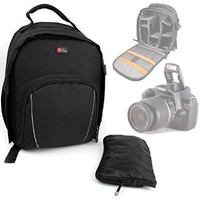DURAGADGET High Quality SLR / DSLR Camera Backpack For Canon EOS Rebel T3, EOS Rebel T3i, EOS Rebel T4i, EOS Rebel T5, Rebel T5i, Rebel T6s, Rebel T6i, EOS SL1, EOS M, EOS 60D, EOS 60Da, EOS 70D, 7D & 6D With Adjustable Padded Interior & Rain Cover