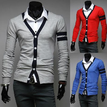 new men's color long sleeve cardigan sweater all-match bright self splicing
